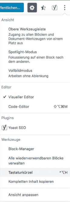 Wordpress Tastaturkuerzel